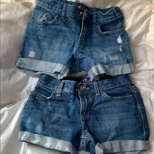 2 pairs girls jean shorts 5/6 children's place